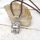 Buddha nyaklánc, Amulett nyaklánc, Ezoterikus, Spirtuális, Rusztikus bőr nyaklánc