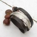 Női antikolt bőr karkötő antik ezüst összekötővel, Kézműves karkötő