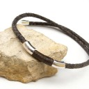 Férfi antik barna fonott bőr nyaklánc, Egyedi és izgalmas!