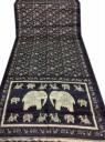 Indiai szári, Selyemszári Indiából, Elefántmintás Fekete selyemszári, Tradicionális indiai szári