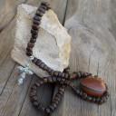 Férfi Navaho nyaklánc, Amerikai indián nyaklánc, Agancs-gyöngy nyaklánc, Törzsi nyaklánc, Navaho Amulett nyaklánc
