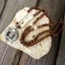 Női Mala nyaklánc, Buddhista nyaklánc, Szantálfa nyaklánc Sterling ezüst Om medállal, Amulett nyaklánc, Ezoterikus nyaklánc