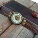 Antik bronz iránytű karóra, Iránytű ékszer a természet szerelmeseinek!, Női iránytű órakarkötő, Indiai iránytű-óra