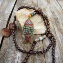 Női nepáli mála nyaklánc, Nepáli szerencse nyaklánc, Ezoterikus nyaklánc, Amulett nyaklánc