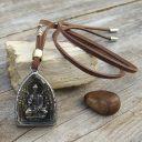 Férfi/Női bivalybőr Buddha nyaklánc, Indiai nyaklánc, Amulett nyaklánc, Buddhista nyaklánc