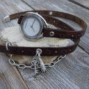 Női karóra antik ezüst kiegészítő lánccal, Csokoládébarna női órakarkötő, Ékszeróra, Karkötőóra