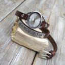 Női karóra, Csokoládébarna órakarkötő, Ékszeróra, Karkötőóra, Órakarkötő dombornyomott antik ezüst dísszel