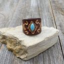 Női bőr gyűrű türkizzel, Olasz marhabőr gyűrű türkizzel – Teremts egy új stílust!