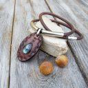 Amulett labradorit nyaklánc, Valódi bőr nyaklánc, Kézműves nyaklánc, Rusztikus nyaklánc