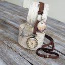 Női óra, Szarvasbőr óra nyaklánc, Vintázs óra nyaklánc, Női szarvasbőr hosszú nyaklánc órával